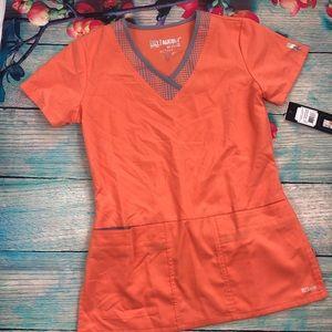 NWT Grey's Anatomy Active Orange & Gray Scrub Top